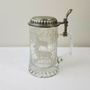 ALWE Vintage Glass Beer Stein Pewter Etched Italy